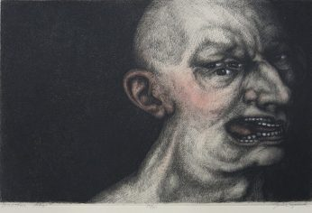 Julie Speed; Doubtful Man, 2005; etching, polymer plate (260x391 mm)