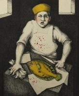 Julie Speed; Fishmonger, 2000; etching, polymer plate, handcoloring (317x262 mm)