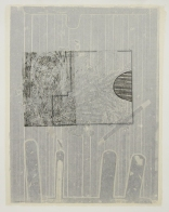 Kim Bauer; Gebaudeplan IV, 2015; offset relief, lithograph, monotype, screen print, chine colle (645x495 mm)
