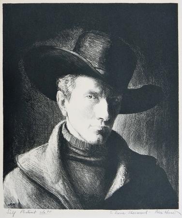 Peter Hurd; Self Portrait, 1936; lithograph (272x239 mm)