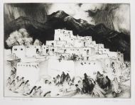 Gene Kloss; II Ceremonial Day at Taos, 1953; drypoint (227x301 mm)