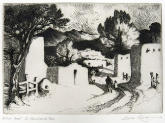 Gene Kloss; In Ranchos de Taos, 1973; etching and drypoint (145x200 mm)