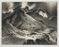 Gene Kloss; The Valley of Valdez, 1973; etching and drypoint (303x381 mm)