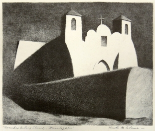 Kenneth Miller Adams; Ranchos de Taos Church, Moonlight, 1950; offset lithograph (225x275 mm) [from the New Mexico Artists Series, university of New Mexico Press]