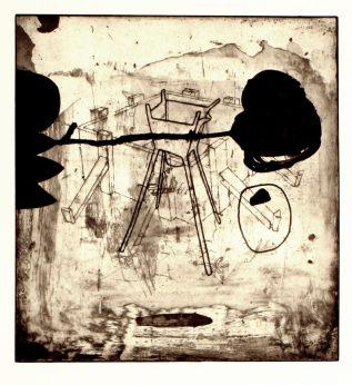 Kim Bauer; Stauen V, 2002; intaglio 324x302 mm)