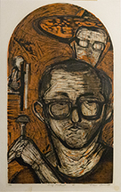 Thoma Seawell (1936-2015); Self-portrait, circa 1970; woodcut (685x390 mm)