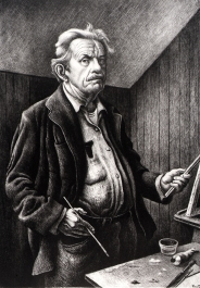 Thomas Hart Benton (1889-1975); Self Portrait, 1970; lithograph (498x350 mm)