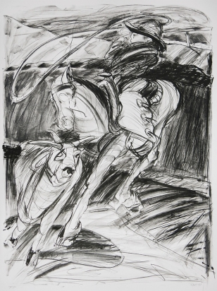 Richard Dishinger; Rodeo, 1991; lithograph; 1050x790 mm