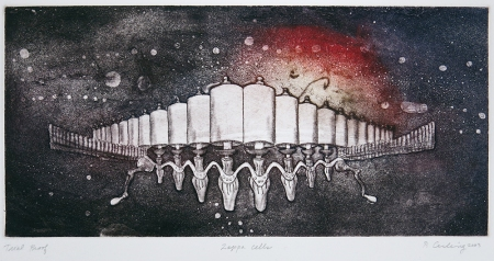 Penny Cerling; Zappa Cells - memorial for Frank Zappa, 2003; etching; 148x312 mm