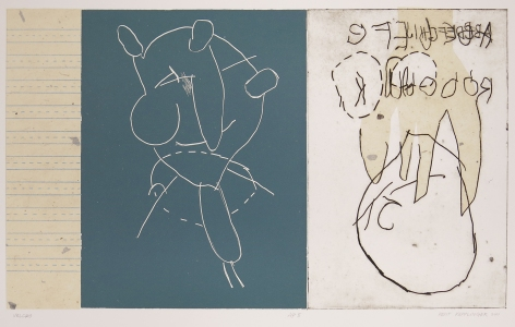 Kent Kapplinger; Velcro, 2001; etching and chine colle