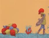 Humbert Saenz; Jugando en Guerra - Pelea de Globos, 2018; lithograph; 280x350 mm