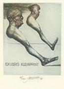 James Janicek (born 1935, Canadian by birth living in the Czech Republic); Dove Minotaurus - EX LIBRIS KLEINPRINT, 2003; etching; 99x81 mm