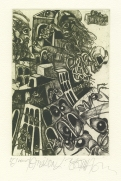 Leo Bednarik (Slovak); Twin Towers of Babel, 2004; etching, dry point; 221x145 mm