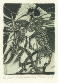 Sergij Jurijovych Hrapov (born 1956, Ukranian); Search of the Compromise - Ex Libris kleinprint, 2004; drypoint and aquatint; 152x110 mm