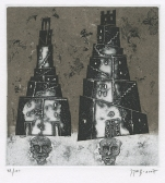Vladimir Zuev (born 1959, Russian); Two Towers of Babel - EL Henry Klein, 2007; etching, aquatint; 130x122 mm