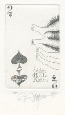 Yuriy Anatolyevich Nozdrin (born 1949, Russian); 2 of Spades - Exlibris H & L Klein, 2010; etching, aquatint, hand coloring; 89x57 mm