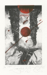 Roman Sustov (born 1977, Belarusian); Learning to Fly, 2011; etching, linocut; 246x173 mm