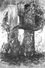 Safiya Piskun (Belarusian); Sally (Sandy) and the Ghosts of 9/11 - EXLIBRIS kleinprint, 2013; etching, drypoint, soft ground; 207x136 mm