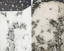 Vladimir Zuev (born 1959, Russian); Fool for Love (Kiss and Tell) - Ex Libris Henry Klein, 2013; etching, aquatint, relief etching, hand coloring; 118x146 mm