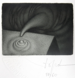 Yurij Borovitsky (born 1955, Russian); From Point A to Point B - EXL KLEINPRINT, 2017; mezzotint, blind embossing; 95x79 mm