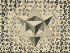 Neal Cox; Stellated Tetrahedron, version 2, 2017; Lithograph, chine colle; 285mmx355mm; Artist Proof