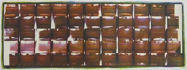 Neal Cox; InSimPanCam Grid, 2015; Gum bichromate over cyanotype; 760mmx760mm