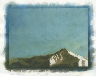 Neal Cox; Timp View no. 13, 2018; Gum bichromate over cyanotype; 355mmx355mm; Monoprint
