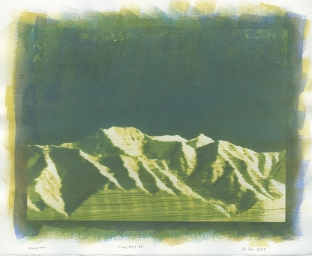 Neal Cox; Timp View no. 33, 2017; Gum bichromate over cyanotype; 355mmx355mm; Monoprint