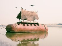 Caleb Cain Marcus; Metal, birds, hay, water and space, 2013; inkjet pigment; 559x746mm