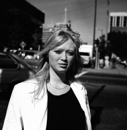 Kistin Capp; Woman in white jacket, Spokane, Washington, 1996; inkjet pigment print; 532x518 mm