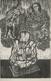 Mort Baranoff; The Artist's Image, 1961; woodcut; 762x493mm