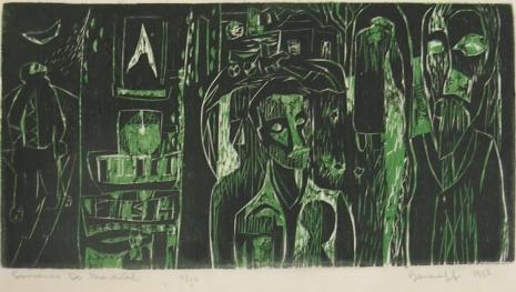 Mort Baranoff; South venir du Montreal, 1958; woodcut; 130x271mm