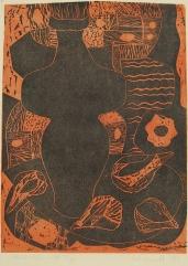 Mort Baranoff; Still Life with Figs, 1958; linocut; 407x297mm