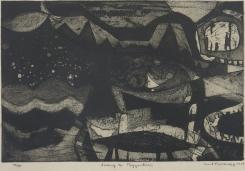 Mort Baranoff; Sailing to Byzantium, 1959; etching, aquatint; 305x453mm