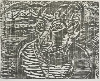 Mort Baranoff; Northern Port, 1961; woodcut; 402x492mm