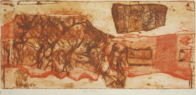 Mort Baranoff; La Mesa, 1968; collogaph; 265x569mm