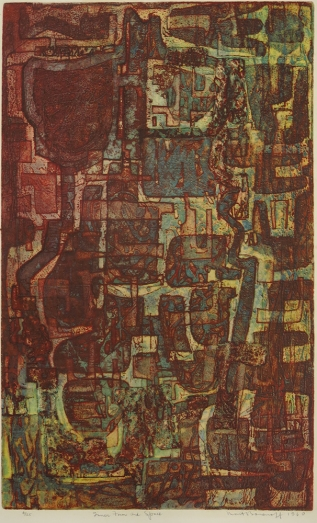 Mort Baranoff; Inner Form and Space, 1960; etching; 758x454mm