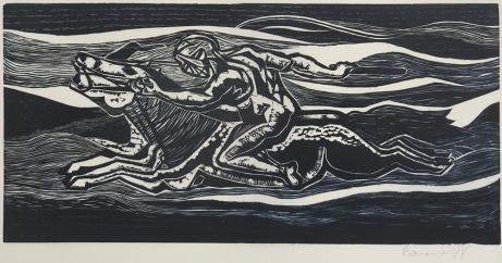 Mort Baranoff; Horseman, nd; woodcut; 228x459mm