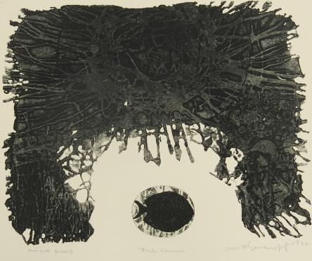 Mort Baranoff; Fish Corral, 1966; intaglio, softground; 231x281mm