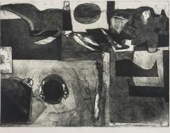 Mort Baranoff; Canyon, 1964; etching; 453x606mm