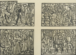 Mort Baranoff; untitled (four Biblical images), nd; woodcut; 178x244mm