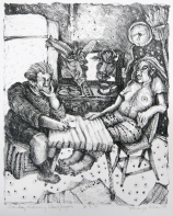 Margo Kren; Sunday Morning Newspapers, from Dreams and Memories, 1982-83; lithograph; 240x190mm