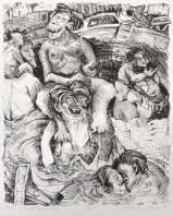 Margo Kren; Pool of Blind Swimmers, from Dreams and Memories, 1982-83; lithograph; 240x192mm