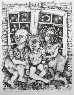 Margo Kren; Scared in the Night, from Dreams and Memories, 1982-83; lithograph; 240x192mm