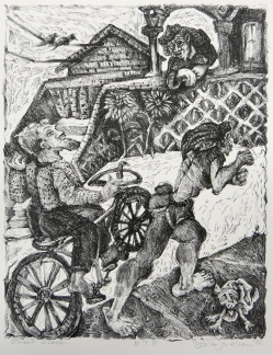 Margo Kren; Street Scene, from Dreams and Memories, 1982-83; lithograph; 240x192mm