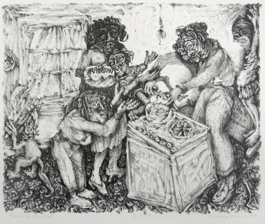 Margo Kren; Family Dinner, from Dreams and Memories, 1982-83; lithograph; 193x240mm