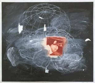 Vernon Fisher; Perdido en el mar, 1990; chalk, oil pastel and acrylic on paper; 726x810mm